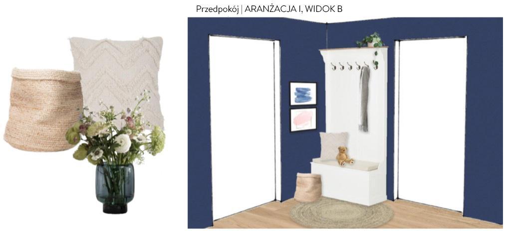 Proejkt przedpokoju z niebieskimi ścianami i jasnymi meblami i dekoracjami w stylu skandynawskim