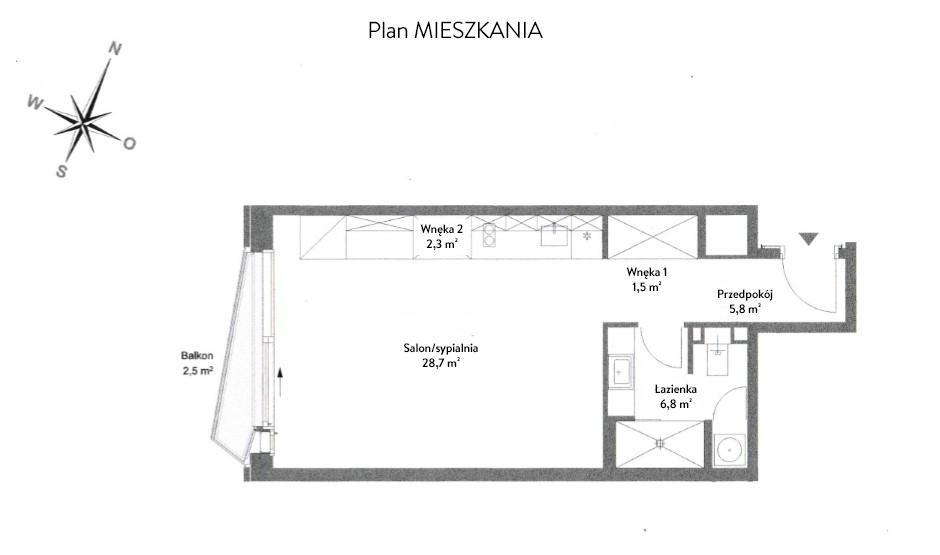 Projekt mieszkania w formie planu, na rysunku przedstawiony rozkład pomieszczeń