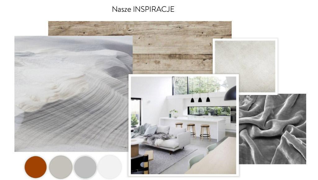 Moodboard ze zdjęciami inspiracyjnymi i paletą kolorów