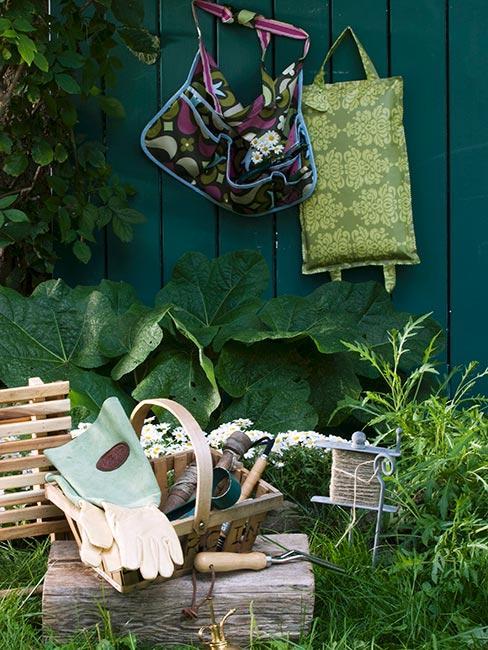 akcesoria ogrodnicze na tle zielonej ściany w ogrodzie