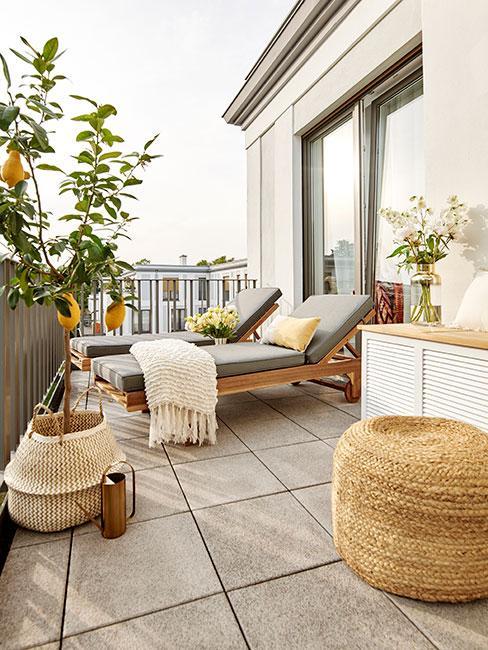 Balkon miejski z leżakami i drzewkiem pomarańczowym w koszyku z trawy morskiej