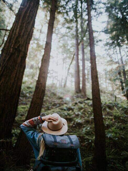 Kobieta spacerująca po lesie