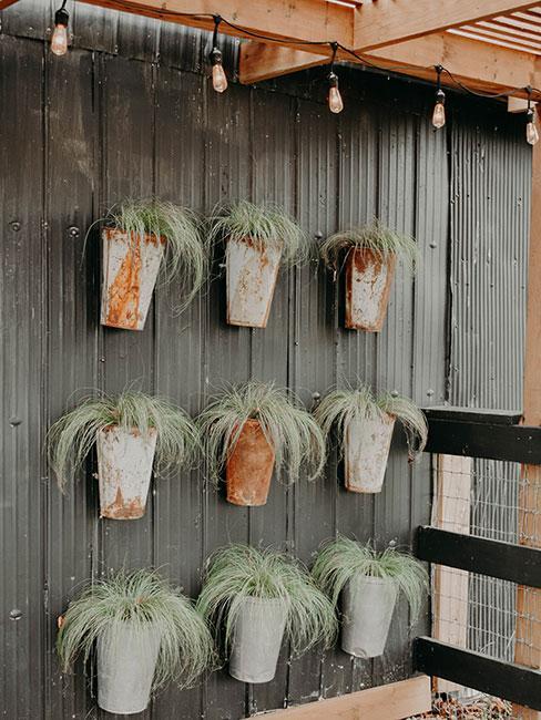 Drewniana ściana z wiszącymi doniczkami
