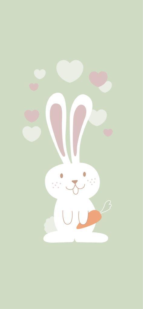 zielona tapeta wielkanocna na telefon z królikiem