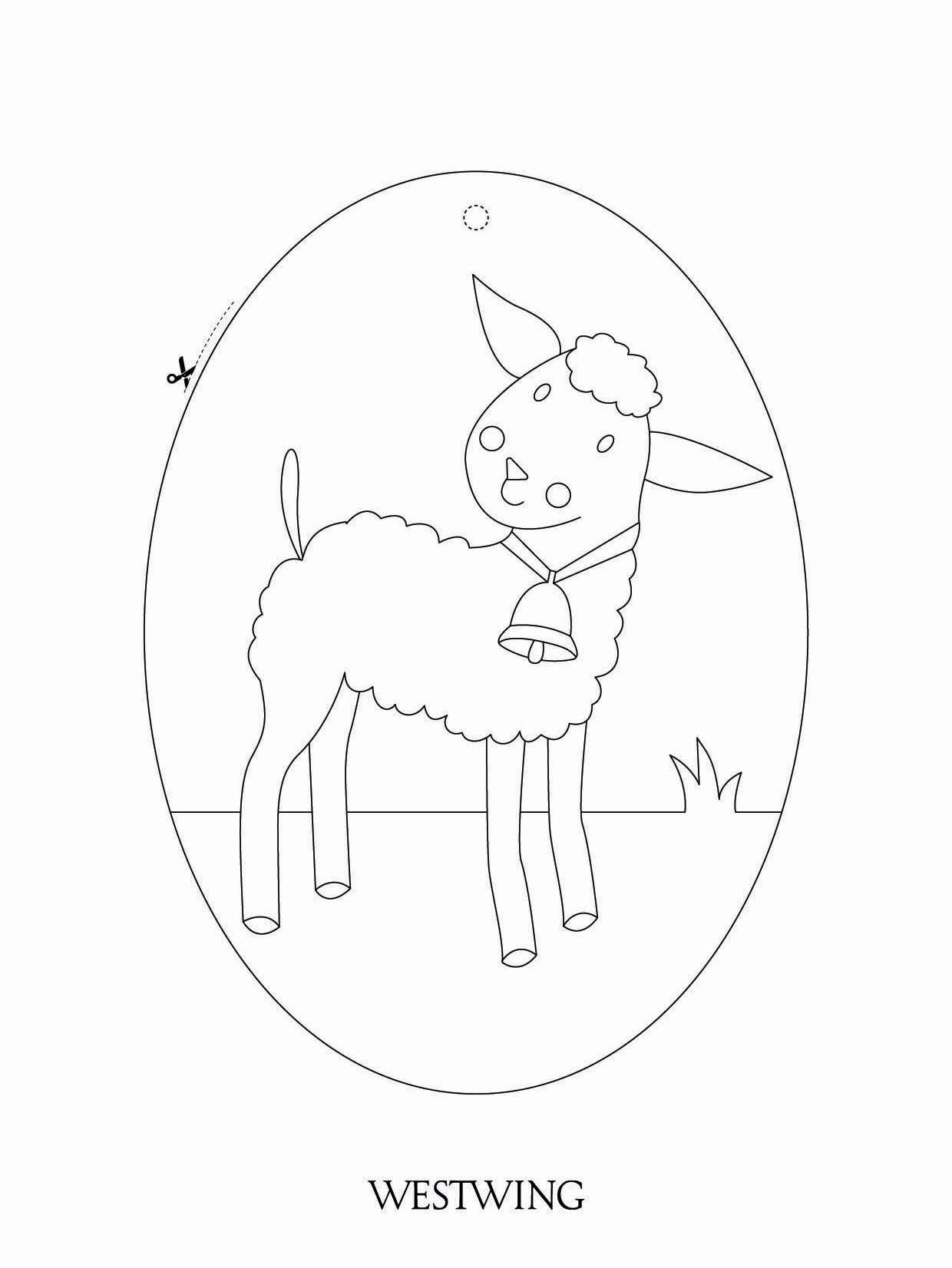 kolorowanka z owieczką w kształcie jajka