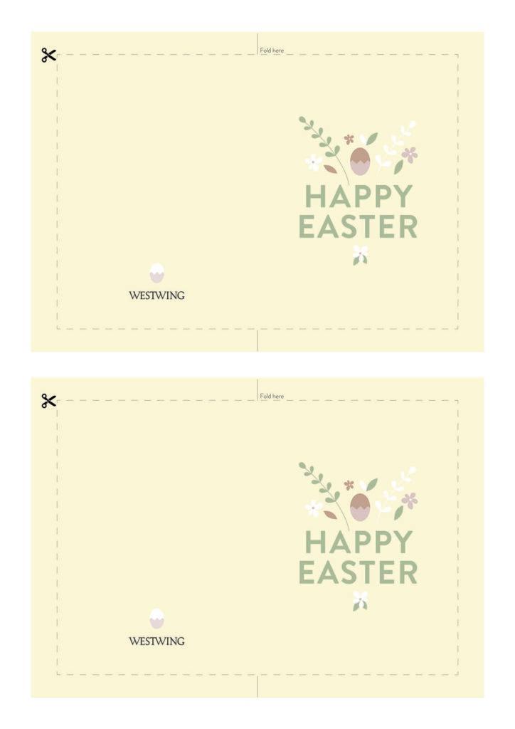 Żółta kartka wielkanocna zaprojktowana przez Westwing