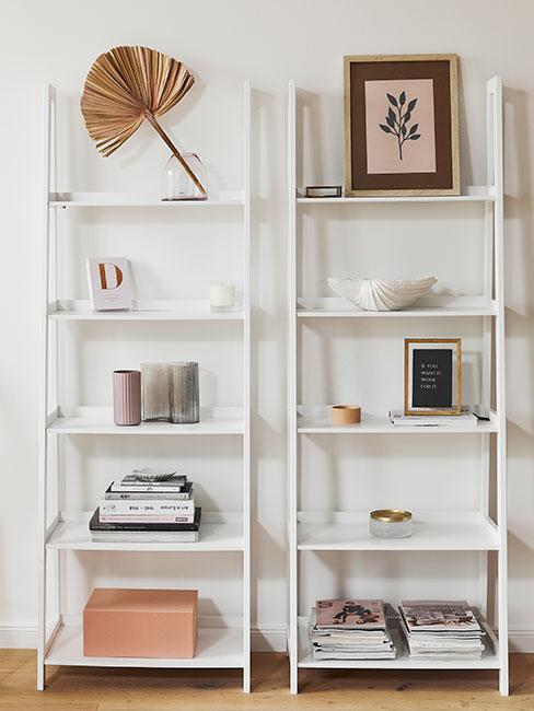 białe regały z książkami i dekoracjami