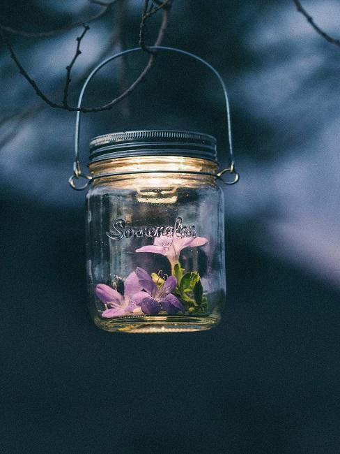 Lampa solarna w słoiku z fioletowymi kwiatami na drzewie