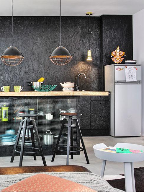 kuchnia z salonem w stylu industrialnym