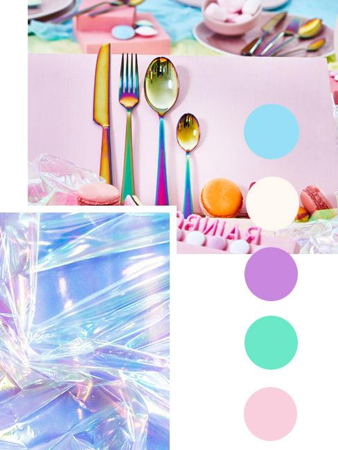 moodbaord nowoczesnej kuchni z holograficznymi kolorami