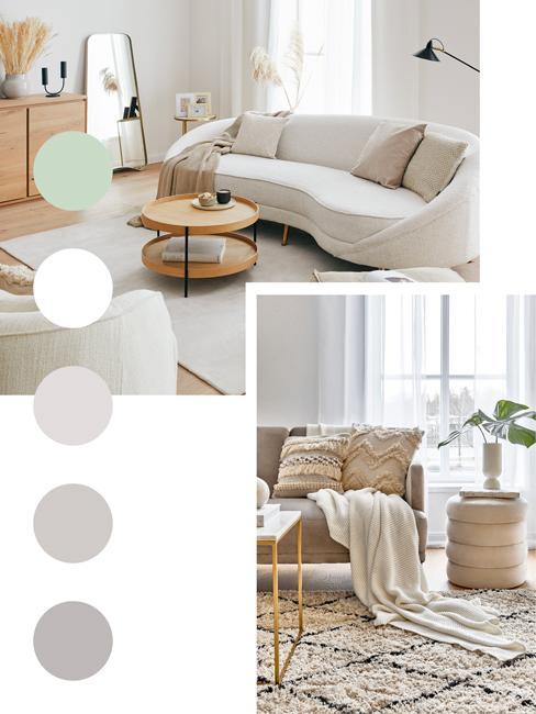 moodboard jasnych neutralnych kolorów w nowoczesnym salonie