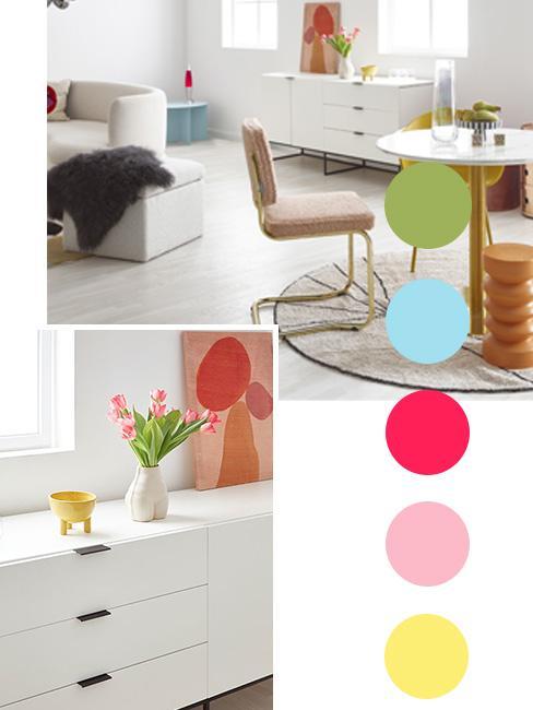 kolorowy moodboard nowoczesnego salonu