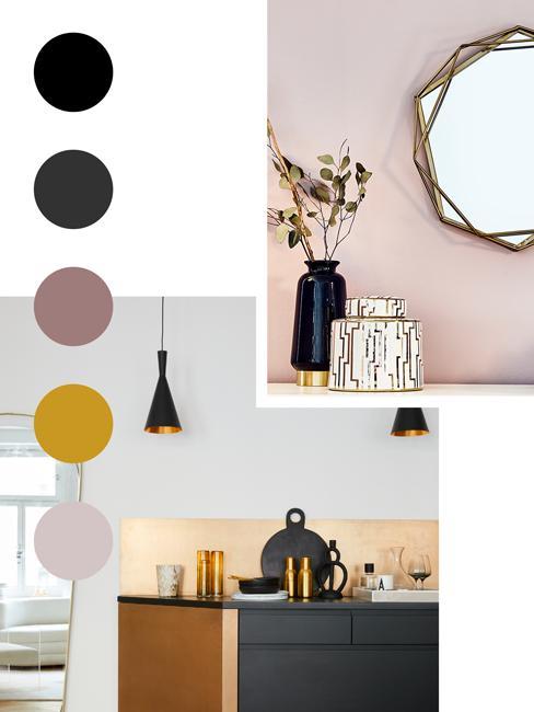 moodboard nowoczesnej kuchni z pastelowymi kolorami