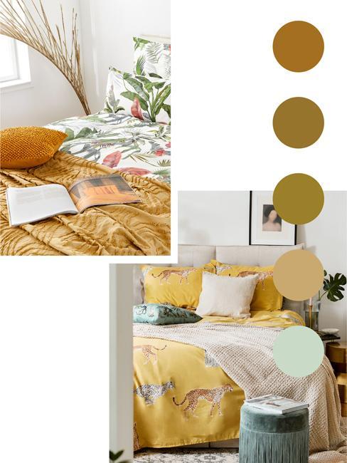 moodboard z żótymi kolorami w sypialni