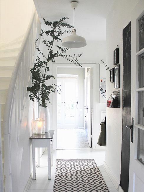 Biały przestronny korytarz w domu