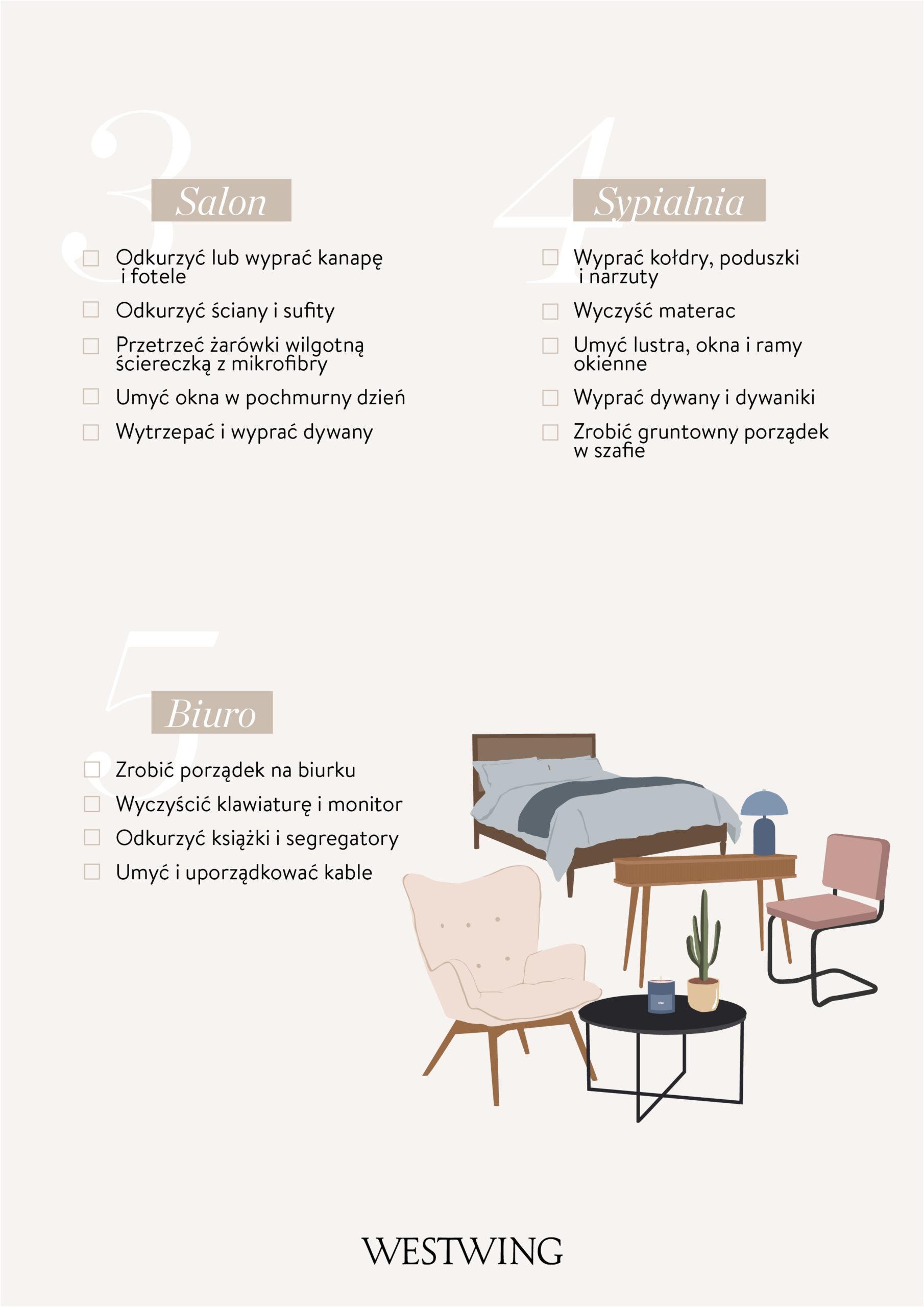 wiosenne porządki checklista sypialnia łazienka