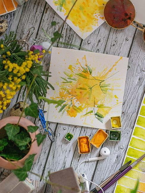 kartka na dzień mamy z żółtym kwiatem