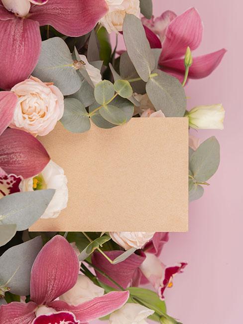 kartka na dzień mamy na tle kwiatów