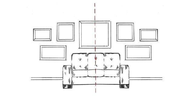 pomysł na ścianę w salonie z galerią obrazów za sofą