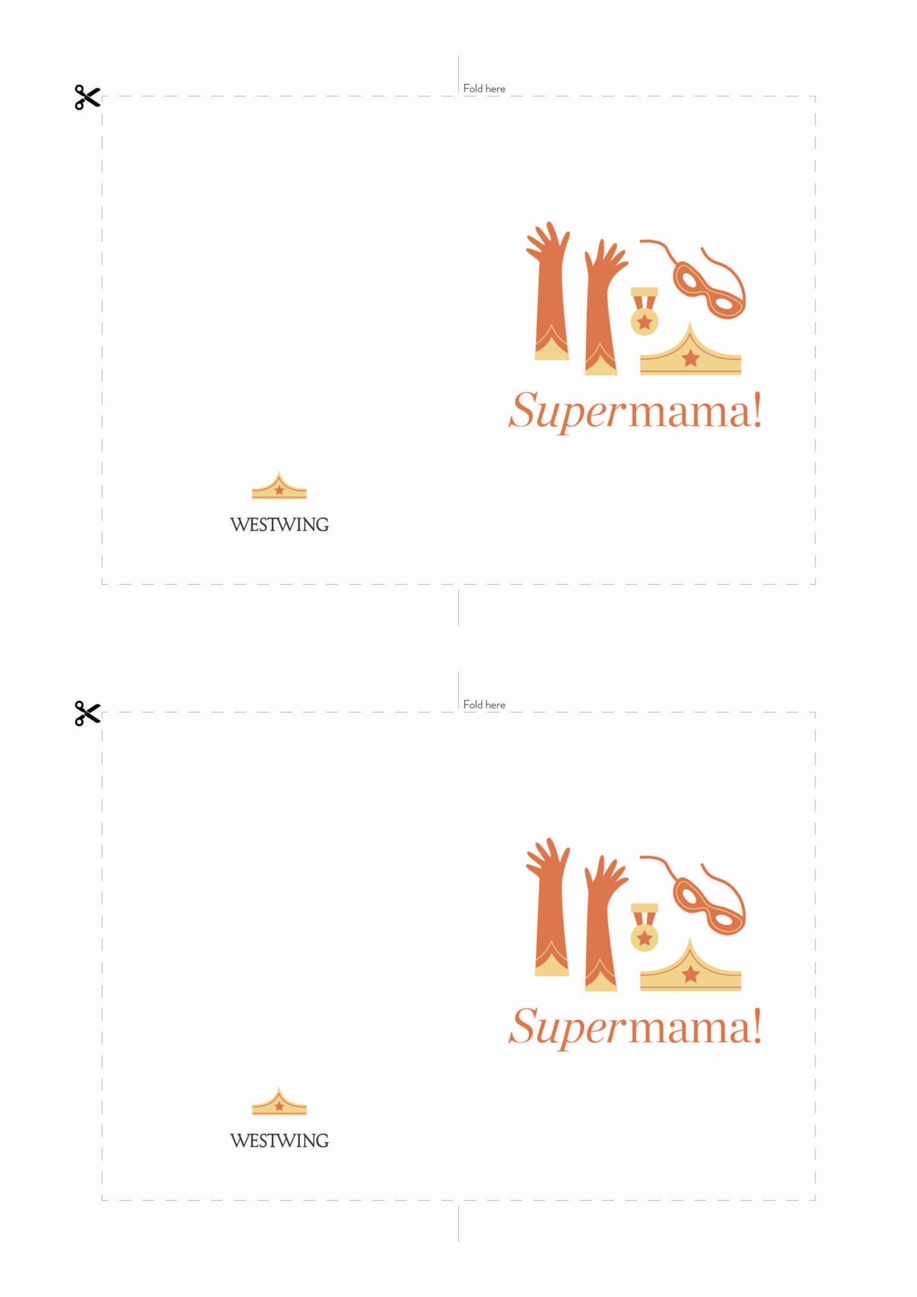 biała kartka na dzień mamy z napisem supermama do wydrukowania