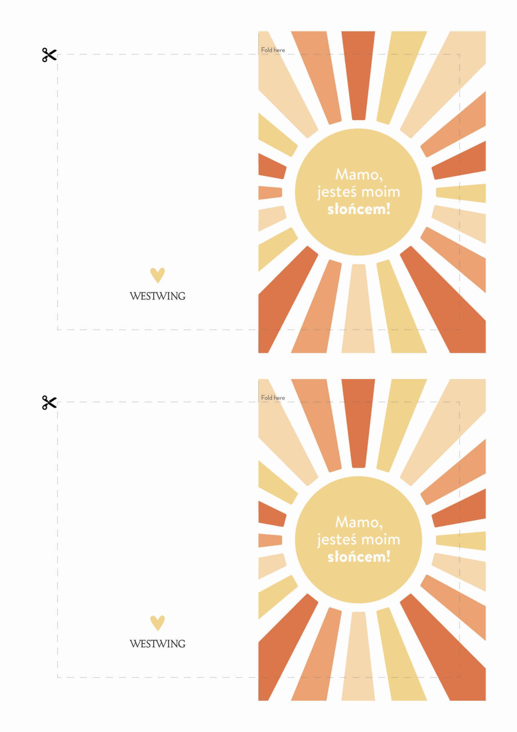 biała kartka na dzień mamy z rysunkiem słońca do wydrukowania