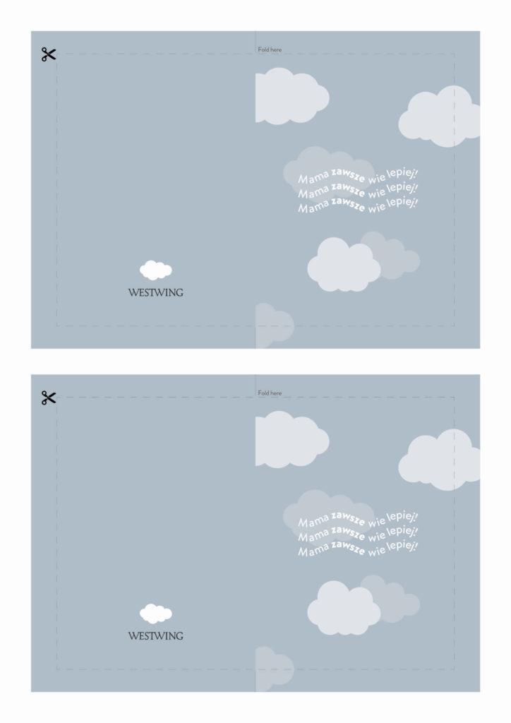 niebieska kartka na dzień mamy z chmurami do wydrukowania