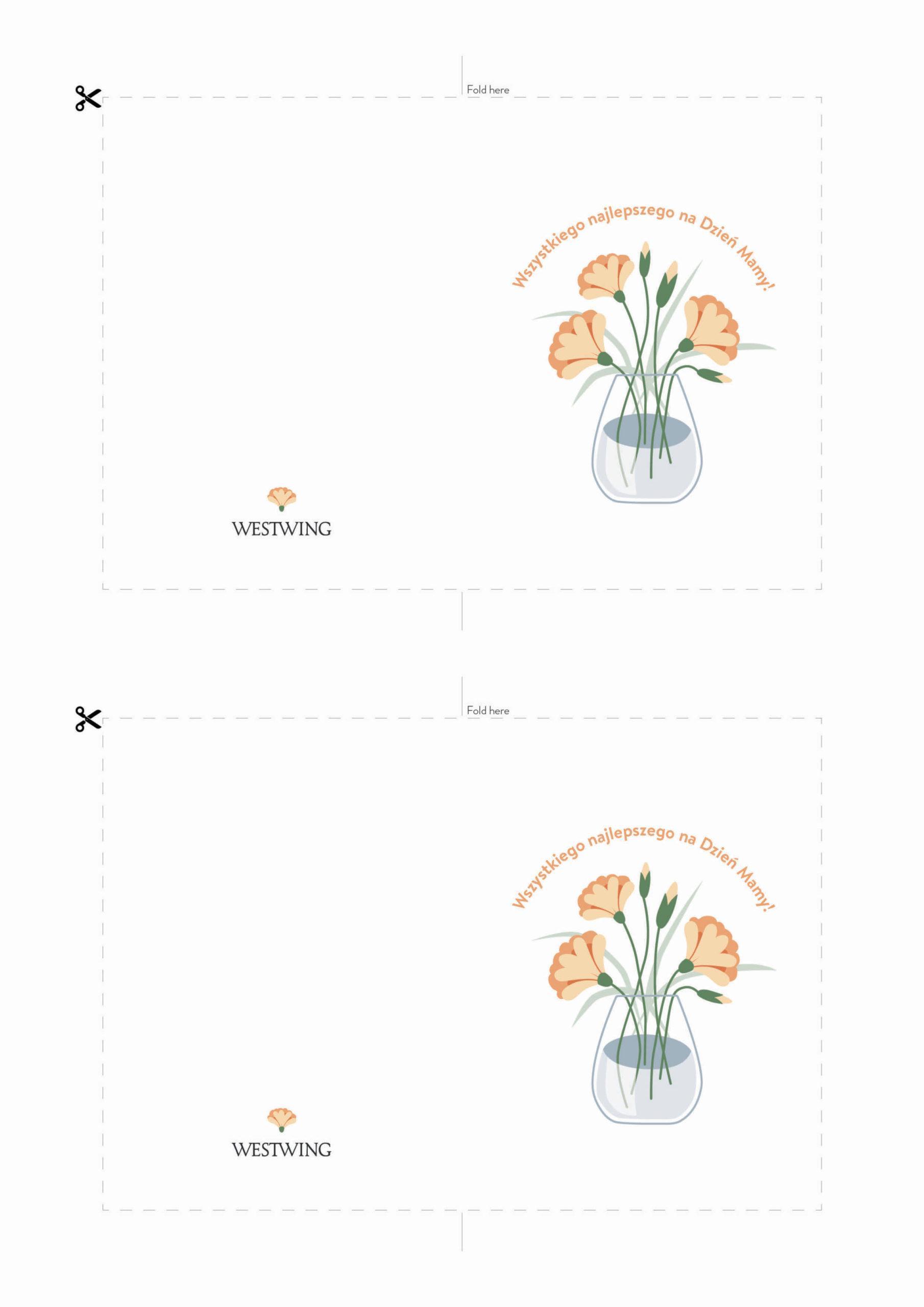 biała kartka na dzień mamy z rysunkiem kwiatów do wydrukowania