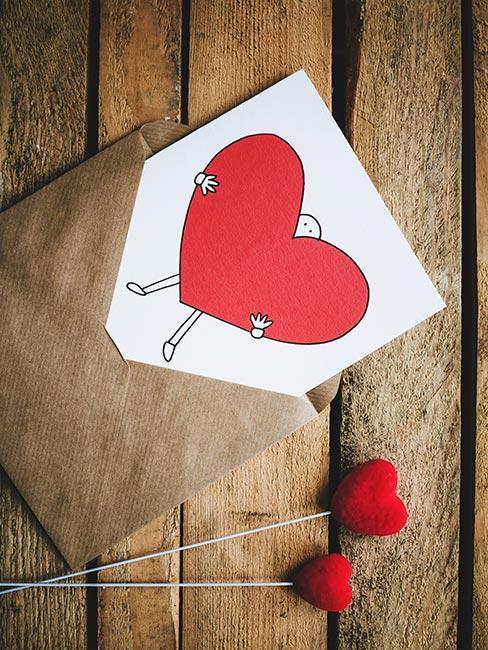 kartka na dzień mamy z rysunkiem serca