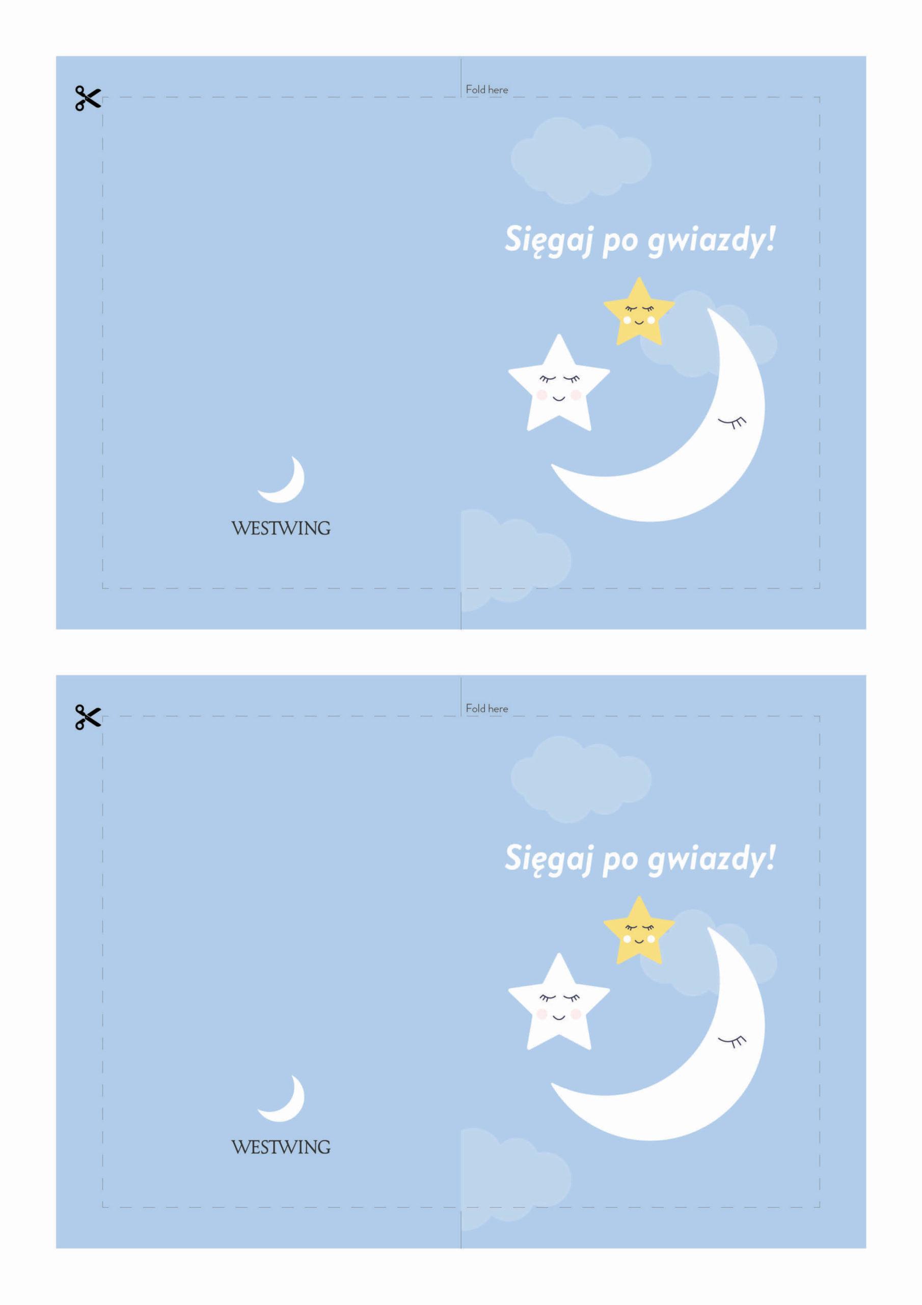Kartka na dzień dziecka z księżycem do wydrukowania
