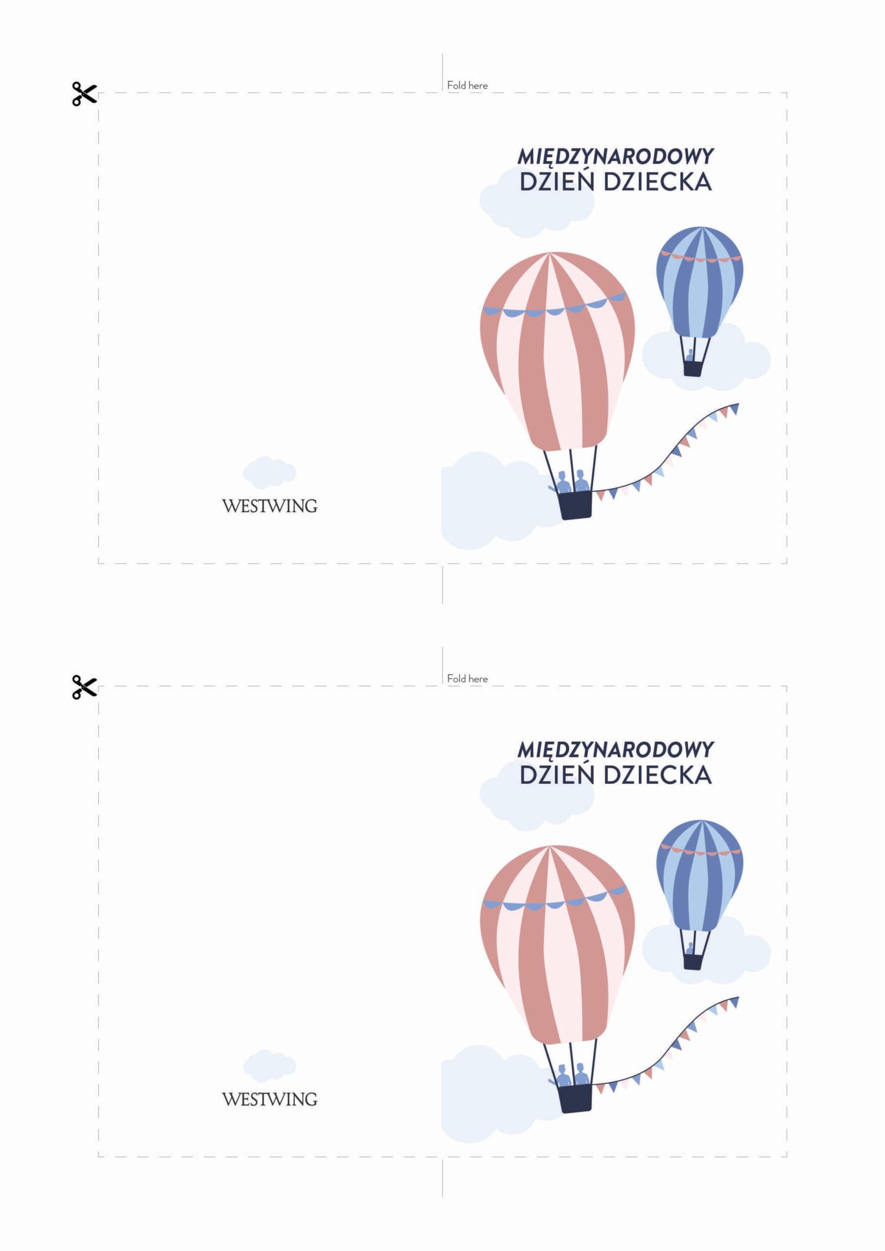 Kartka na dzień dziecka z balonami do wydrukowania