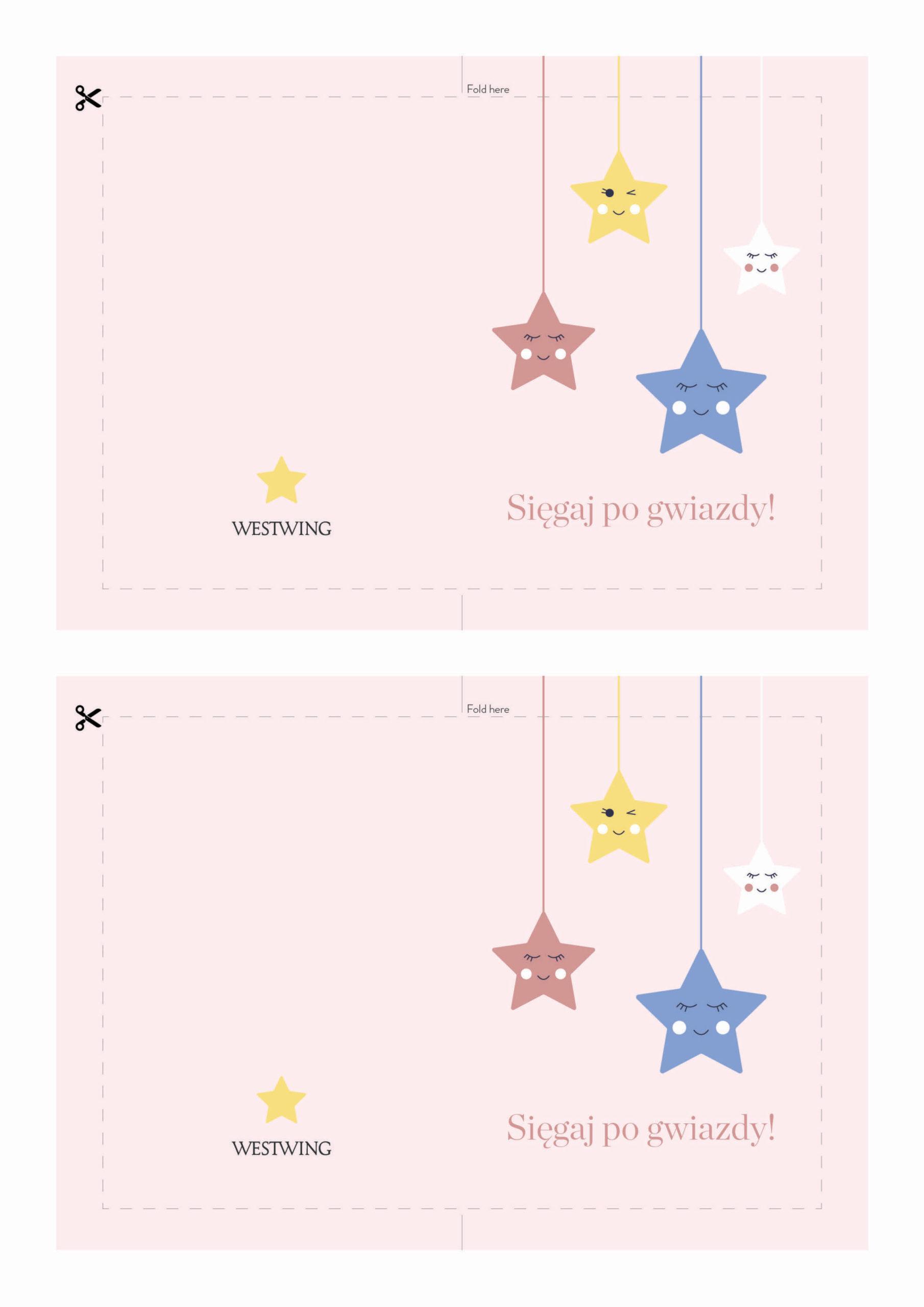 Kartka na dzień dziecka z gwiazdami do wydrukowania