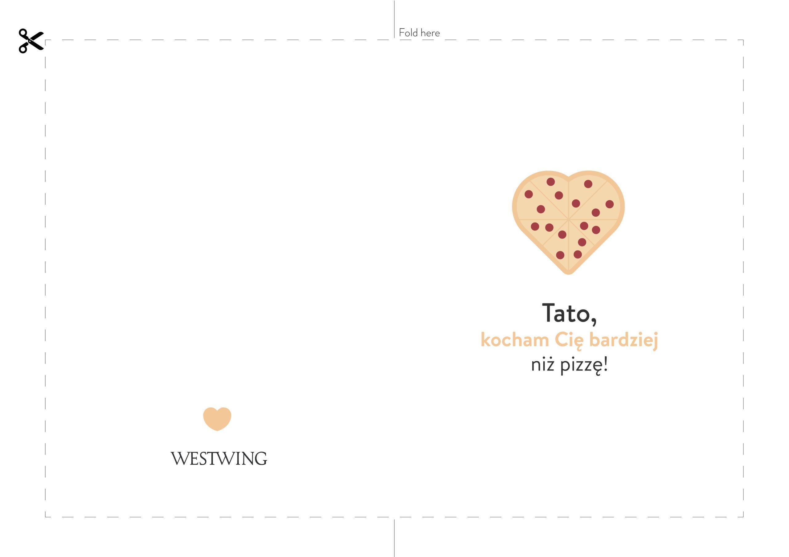 biała kartka na dzień ojca z rysunkiem pizzy do wydrukowania