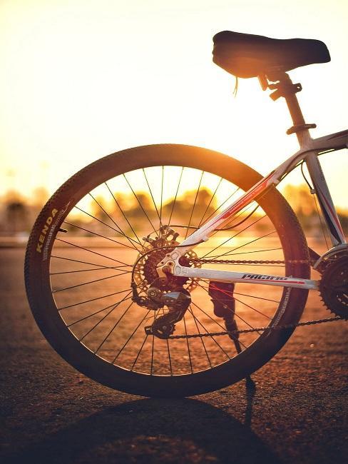 Rower z tłem zachodzącego słońca