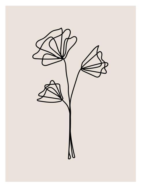 rysunek kreską z kwiatem do pobrania jako pomysły na dzień matki