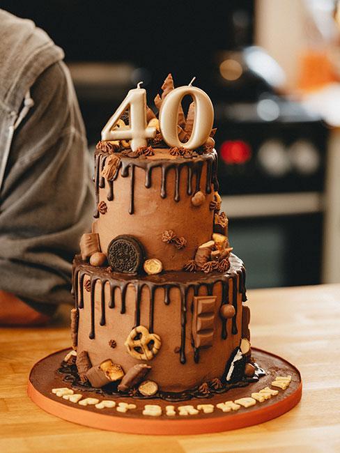 Czekoladowy tort na 40 urodziny