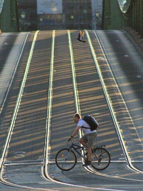 Mężczyzna jadący na rowerze po mieście