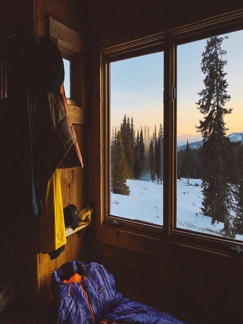 Widok z małego domu na las pokryty śniegiem