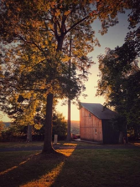Drewniany tiny house na tle słońca
