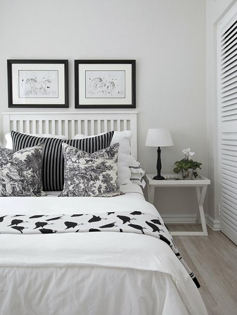 sypialni z garderobą w bieli i czerni