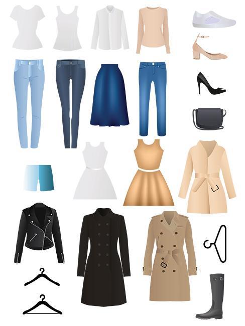 Grafika ukazująca podstawe artykuły odzieżowe w minimalistycznje szafie: jeansy, biała koszula, trencz..