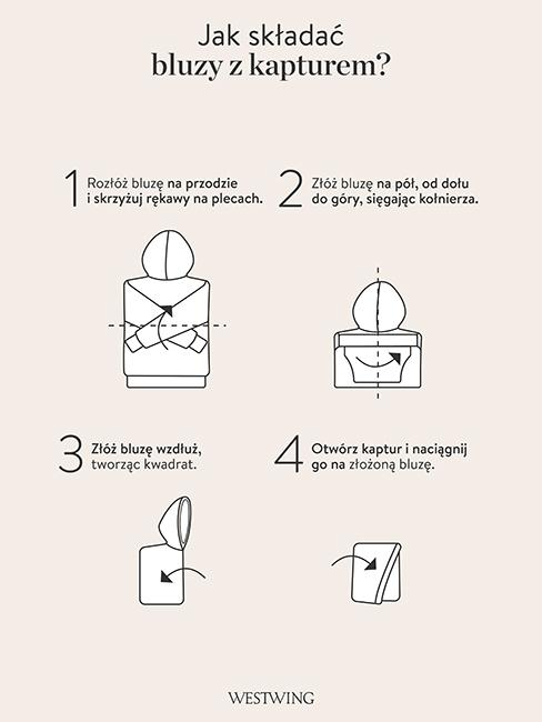 jak składać bluzy z kapturem szablon