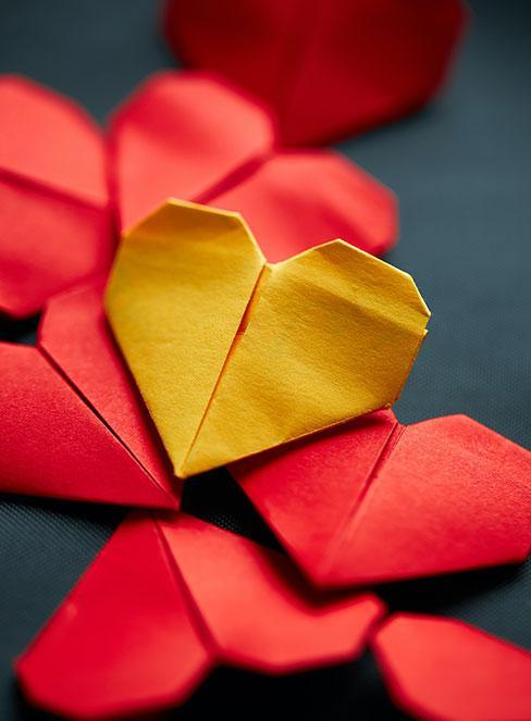 serca origami z papieru diy dla dzieci