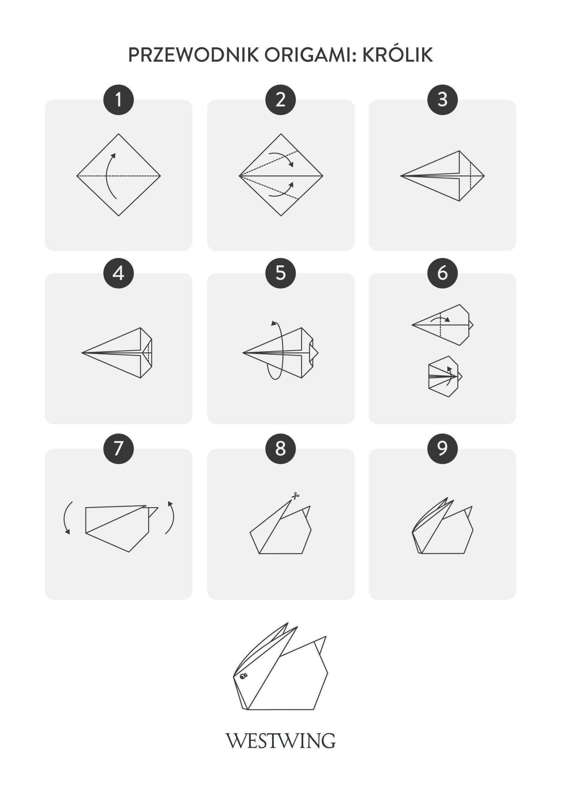 szablon origami królika DIY dla dzieci