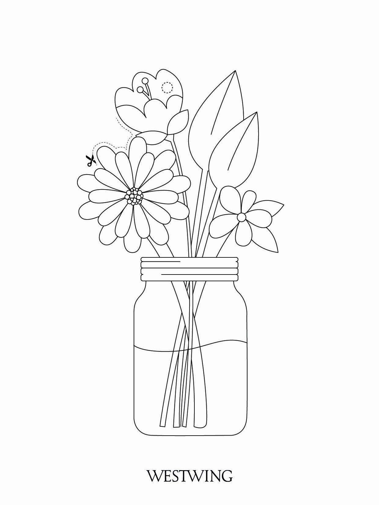kolorowanka do wydrukowania z kwiatami w wazonie DIY dla dzieci