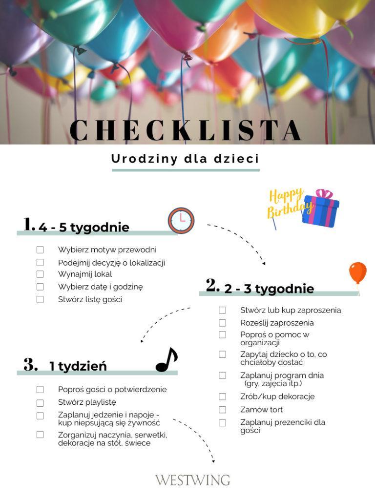 urodziny dla dzieci checklista do wydrukowania
