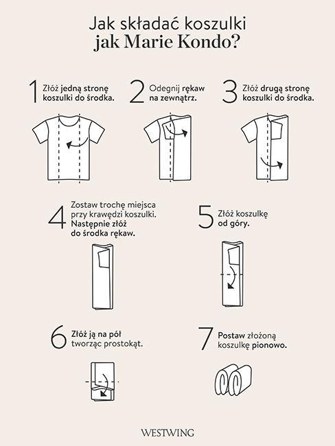 organizacja szafy szablon składania ubrań metodą konmari