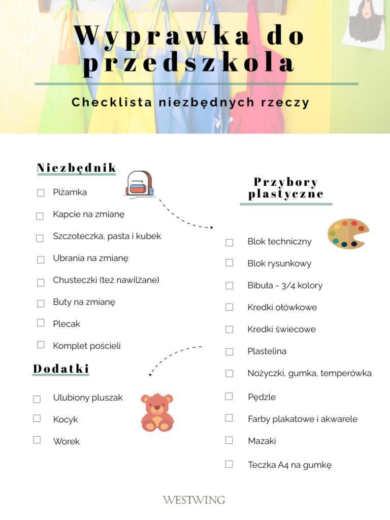 wyprawka do przedszkola checklista do wydrukowania