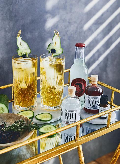 Drinki z ginem na wóżku barowym