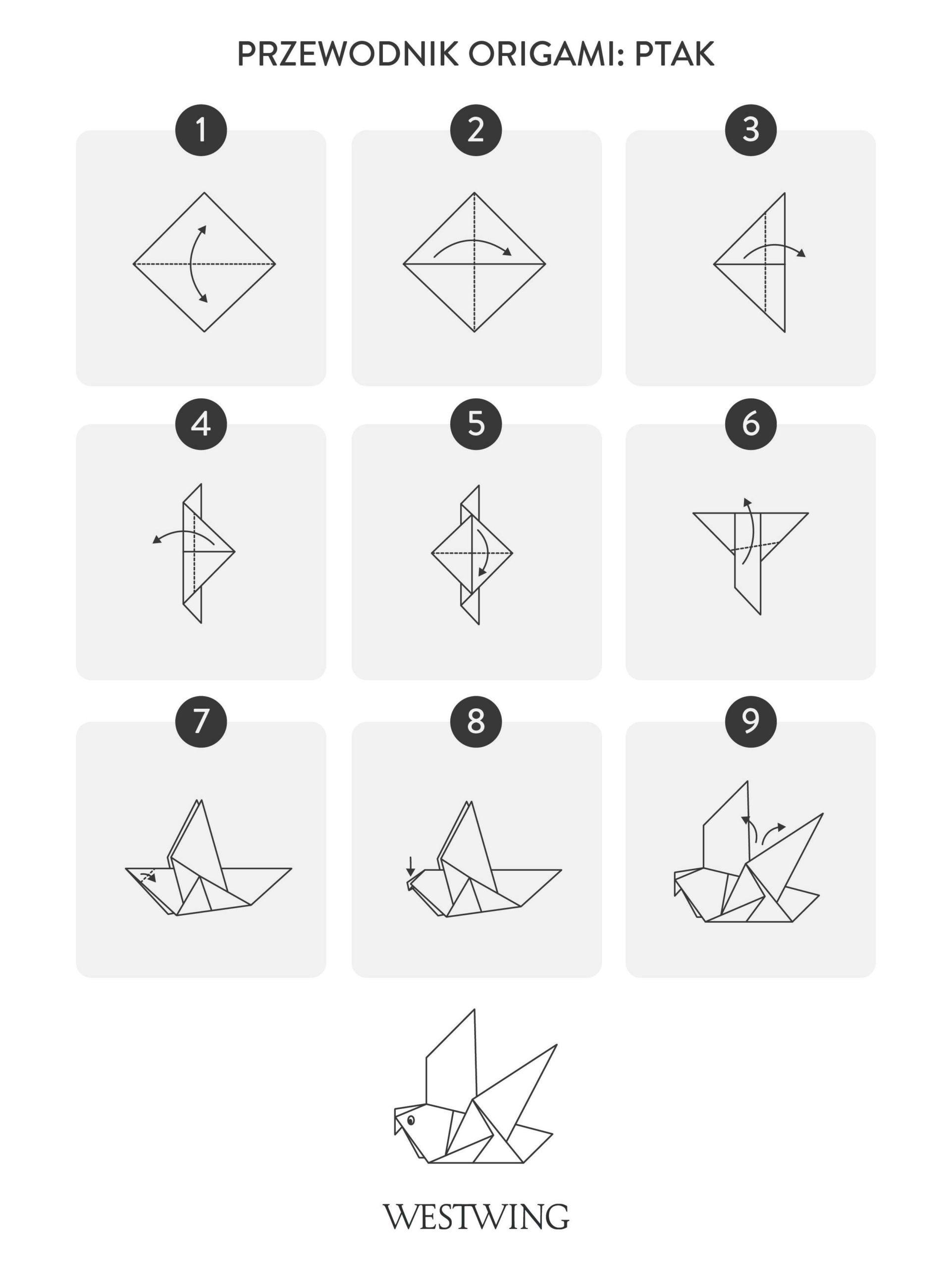 jak zrobić origami ptaka krok po kroku