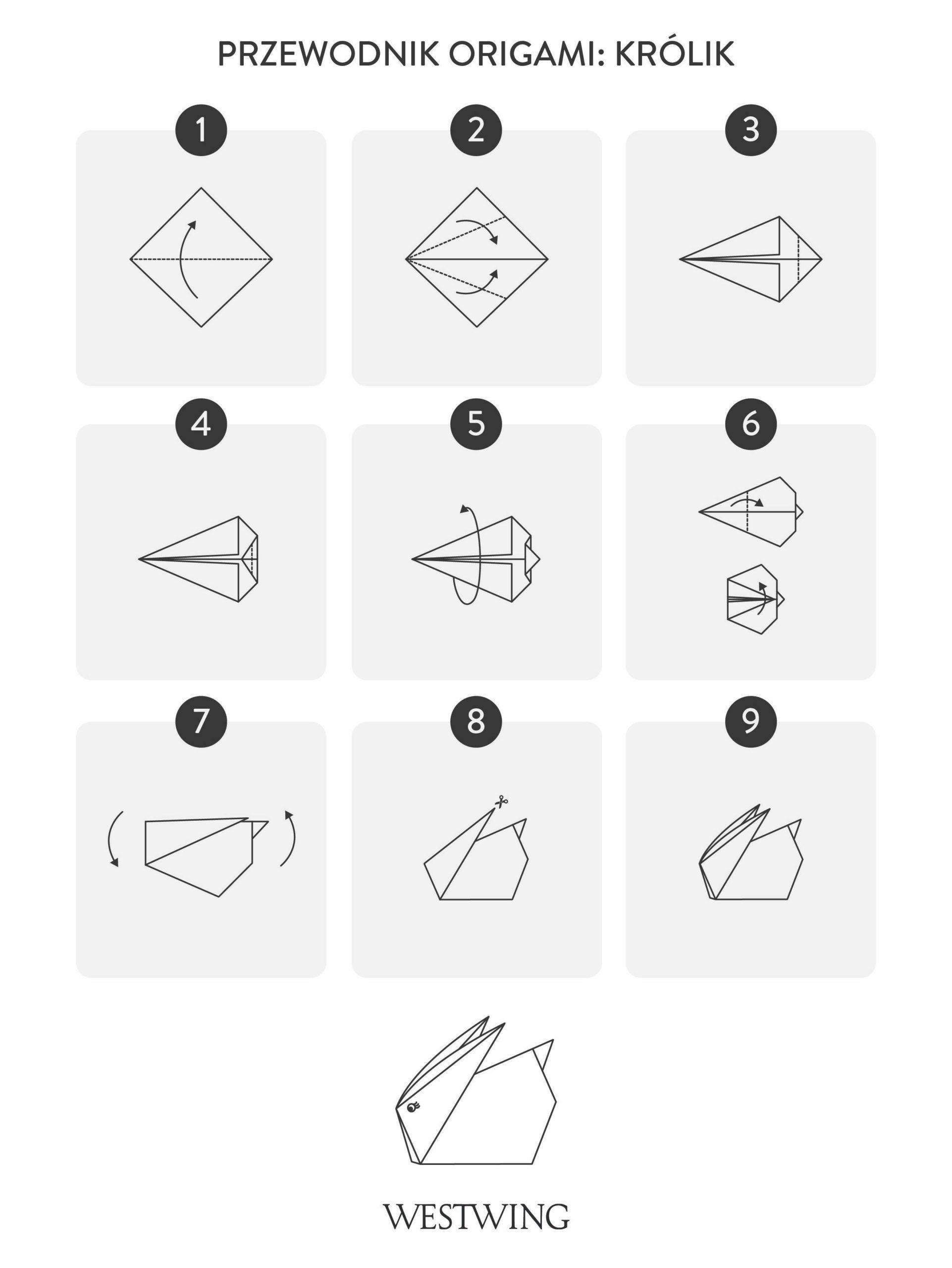 Jak zrobić origami królika krok po kroku